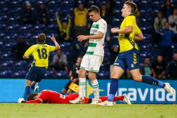 Jesper Lindstroem (nr 18) w dogrywce w Kopenhadze strzelił dla Broendby IF 2 gole, które wyeliminowały Lechię Gdańsk z eliminacji Ligi Europy.