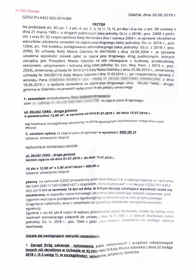 Trio bębniarzy otrzymało informację, że pozwoleń na zajęcie pasa drogowego GZDiZ nie wydaje. Okazało się jednak, że niektórzy artyści takie zezwolenia otrzymali. Screen dokumentu, który otrzymał jeden z zespołów.