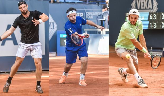 Niemiec Andre Begemann (z lewej) i Rumun Florin Mergea (w środku) to triumfatorzy debla w BNP Paribas Sopot Open. W turnieju singli najlepszy był Włoch Stefano Travaglia (z prawej).
