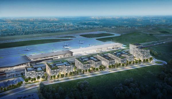 Widok z lotu ptaka na Airport City. Tak ma wyglądać gdańskie lotnisko za kilkanaście lat. Biały budek wzdłuż płyty postojowej to planowane przedłużenie pirsu, którego budowa rozpocznie się w ciągu kilku miesięcy.