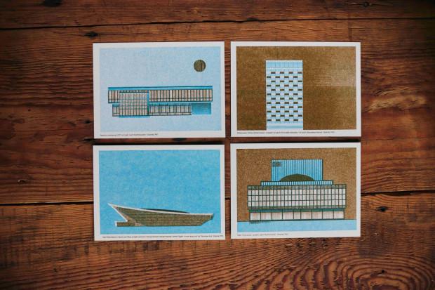 Pocztówki autorstwa Michała Pecko przypominają o niezwykłych modernistycznych obiektach z Gdańska.