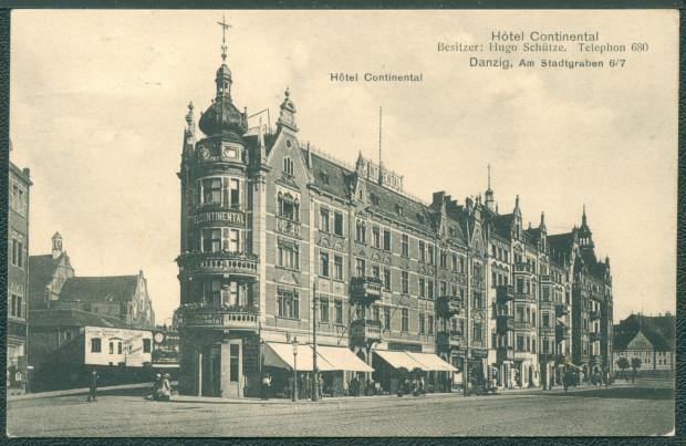 """Hotel """"Continental"""" w przededniu wybuchu I wojny światowej, już po rozbudowie, 1914 r."""