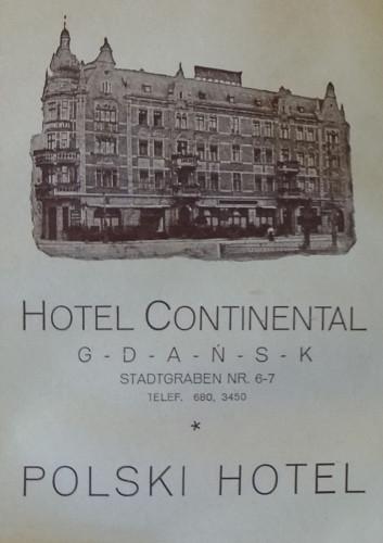 """Reklama hotelu """"Continental"""" w wydanym w 1922 r. pierwszym przewodniku polskim po Gdańsku."""