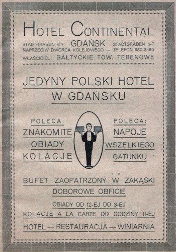 Reklama Hotelu Continental z 1921 roku.