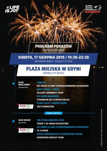 Program drugiego nocnego pokazu lotniczego 17.08.2019.