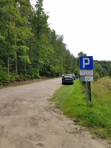 Początek trasy - parking przy Leśnym Ogrodzie Botanicznym w Marszewie