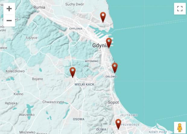 Lokalizacje innych stacji Zdrowy Rower