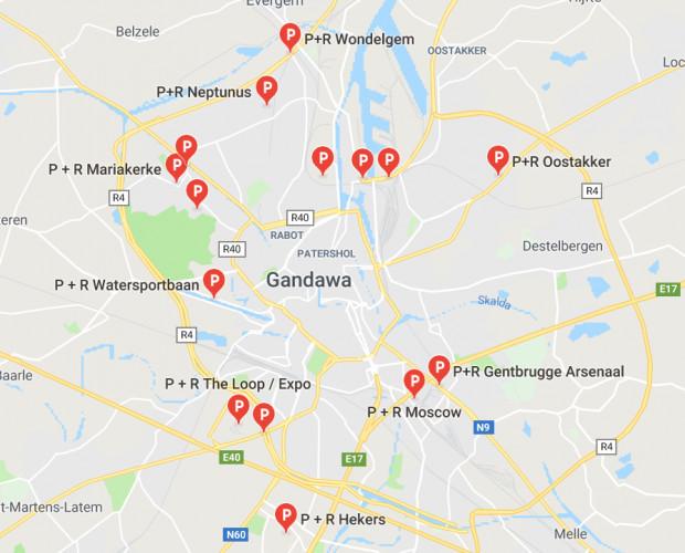 Centrum Gandawy otoczone jest ringiem i licznymi parkingami P&R, dzięki czemu kierowcy mogą sami zdecydować, jak dojadą na Stare Miasto.