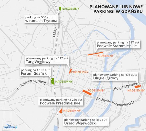 Istniejące i planowane parkingi wokół i w centrum Gdańska.