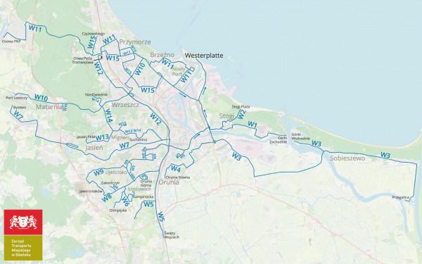Schemat specjalnych linii autobusowych uruchomionych przez miasto do obsługi obchodów 80 rocznicy wybuchu II wojny światowej.