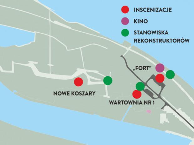 """Mapka wydarzeń, które w ciągu dnia odbędą się w ramach weekendowej imprezy """"Spotkanie z historią"""" na Westerplatte."""