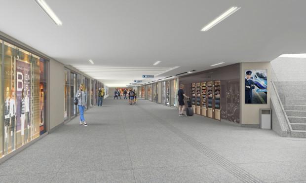 Tak ma wyglądać nowy fragment tunelu łączący istniejące przejście podziemne z budynkiem dworca.