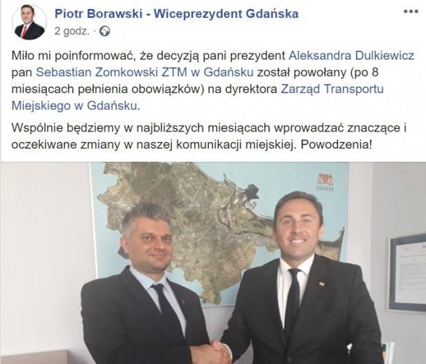"""O """"nowym"""" stanowisku Sebastiana Zomkowskiego poinformował wiceprezydent Piotr Borawski."""