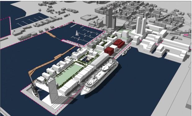 Koncepcja przygotowana przez Zarząd Morskiego Portu Gdynia, dotycząca poszerzenia granic. Czerwona linia to granice poszerzenia portu.