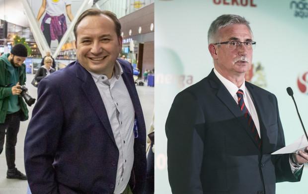 Adam Mandziara (z lewej) tymczasowo zastąpił Janusza Biesiadę (z prawej) w roli prezesa Lechii Gdańsk. W czerwcu to on zwalniał dla niego stanowisko.