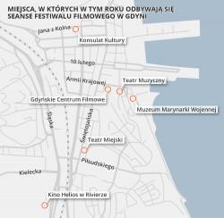 Mapka z miejscami, w których odbywają się seanse filmowe.