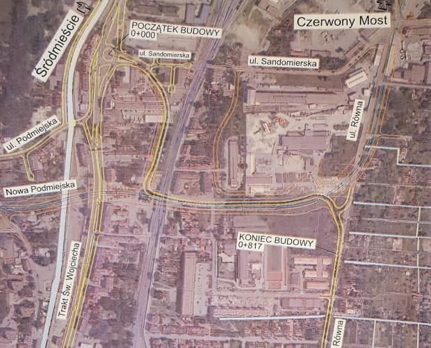 Robocza koncepcja wiaduktu drogowego częściowo w ciągu ul. Nowej Podmiejskiej z 2016 r.