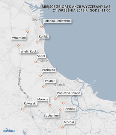 Ostatecznie wytypowano 12 lokalizacji na terenie Trójmiasta.