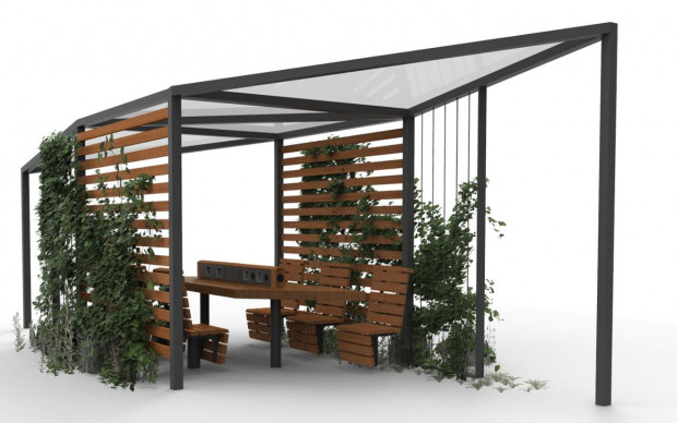 Wizualizacja z projektu mała architektura umilająca pobyt w Zielonym Parku