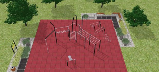 Wizualizacja z projektu plac do ćwiczeń kalisteniki / street workout'u