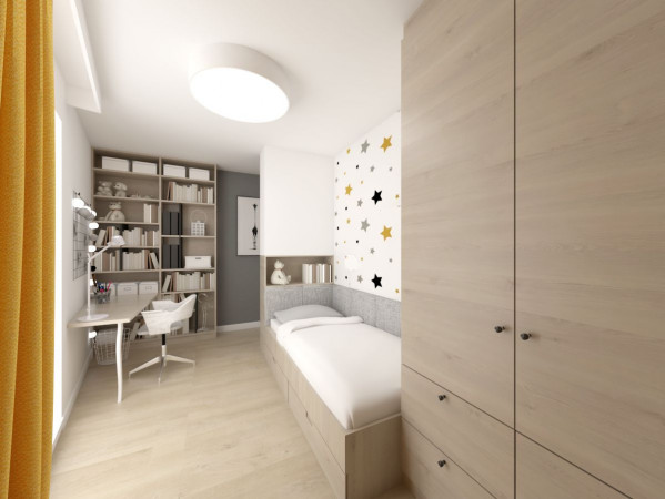 Koncepcja druga. Widoczna na wizualizacji strefa biurka została wyposażona w dużą ilość półek, a sąsiadujące okno zapewnia naturalne światło.