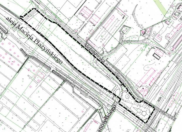 Brzeźno, teren objęty nowym planem w rejonie al. Płażyńskiego i ul. Kochanowskiego.