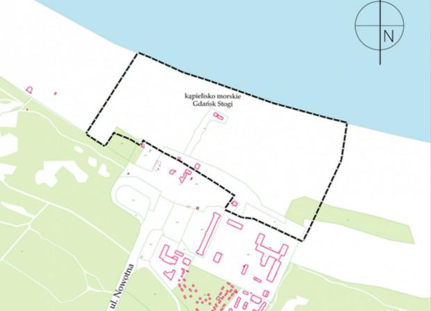 Stogi, teren objęty nowym planem w rejonie kąpieliska morskiego Stogi II.