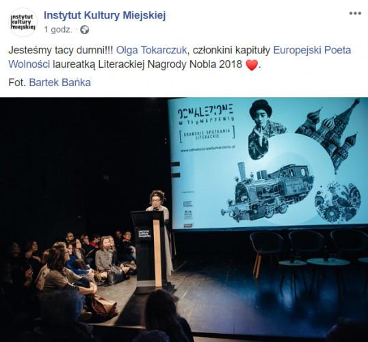 Gratulacje od Instytutu Kultury Miejskiej w Gdańsku.
