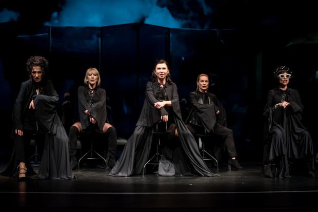 Spektakl jest nieco mroczny, bohaterki i większość bohaterów ubranych jest przez autorkę kostiumów Jolantę Łagowską-Braun na czarno.