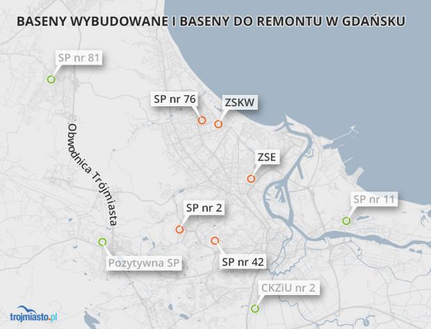 Od 2015 r. do użytku oddano cztery nowe kryte pływalnie (oznaczone na zielono). Urzędnicy zapowiadają, że wykonane mają zostać przebudowy pięciu innych pływalni (oznaczone na pomarańczowo).