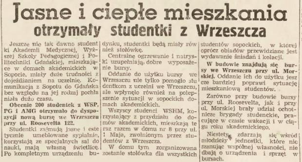 """Artykuł prasowy z grudnia 1951 r. opublikowany w """"Dzienniku Bałtyckim"""", informujący o oddaniu do użytku nowej bursy we Wrzeszczu."""