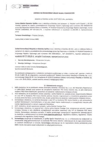 Umowa GAiT z Areną Gdańsk Operator na wynajem loży VIP na Stadionie Energa Gdańsk.
