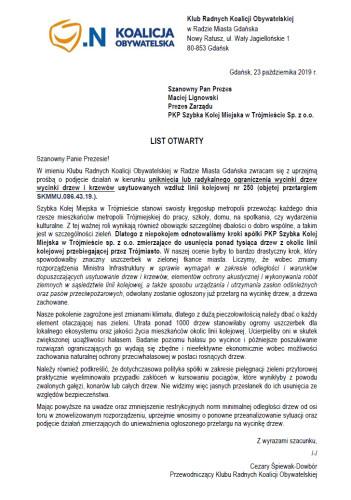 List otwarty radnych Koalicji Obywatelskiej.