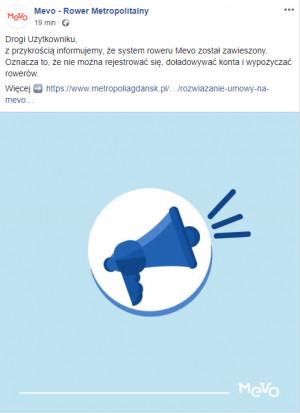 Komunikat operatora Mevo o wyłączeniu systemu roweru metropolitalnego pojawił się we wtorek przed południem na Facebooku.