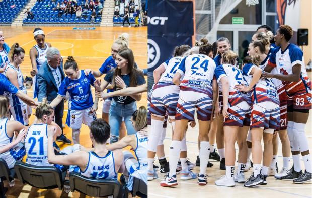 Koszykarki AZS Uniwersytetu Gdańskiego (z lewej) i DGT Politechniki Gdańskiej (z prawej) w najwyższej klasie rozgrywkowej zmierzą się po raz pierwszy w historii.