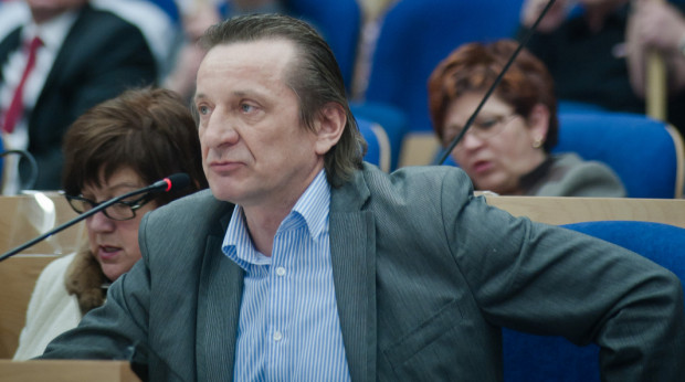 XXVII sesja Sejmiku Wojewodztwa Pomorskiego. Na zdjęciu radny Leszek Bonna.