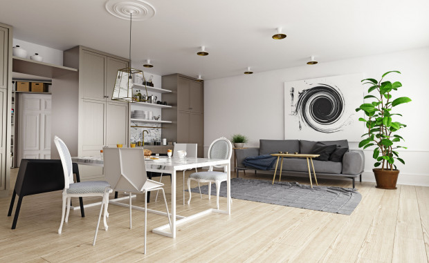 Możliwe w większości mieszkań połączenie kuchni z jednym z pokoi pozwala tworzyć wnętrza o większej przestrzeni. Dzięki temu mieszkania dwupokojowe cieszą się jeszcze większą popularnością.
