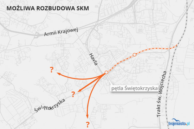 Odnoga linii - według planów - będzie biegła w kierunku pętli przy al. Havla. Kluczową kwestią jest wybór, jaki korytarz transportowy powinien zostać wybrany: w kierunku linii PKM nr 248, czy w kierunku linii nr 234, czy w kierunku bajpasu kartuskiego.