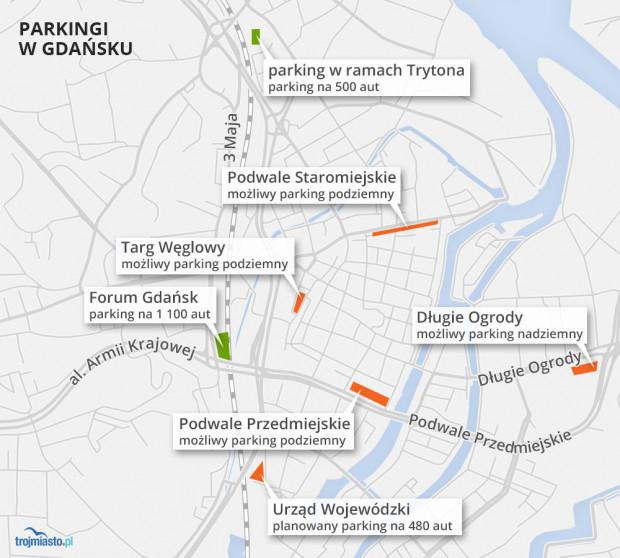 Istniejące i planowane parkingi w centrum Gdańska
