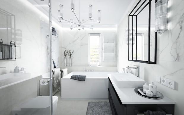 Monochromatyczne wnętrza to jeden z aktualnych trendów w aranżacji łazienek.