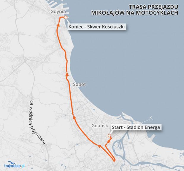 Trasa wiodła głównymi ulicami miasta sprzed Stadionu Energa na skwer Kościuszki.
