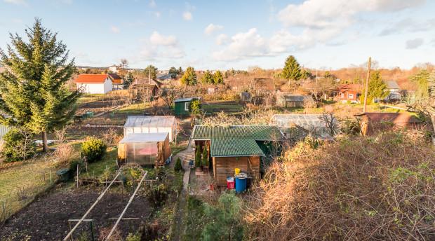 Ogródki działkowe w bezpośrednim sąsiedztwie Ergo Areny po stronie Sopotu.