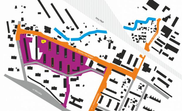Obszar zmian w 2. etapie na fioletowo.