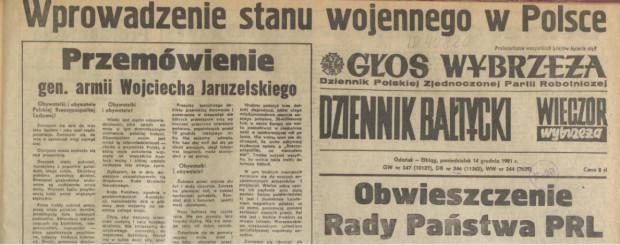 Fragment pierwszego numeru tzw. Trójgazety, wydanego 14 grudnia 1981 roku. Jej ostatni numer ukazał się natomiast 2 lutego 1982 roku.