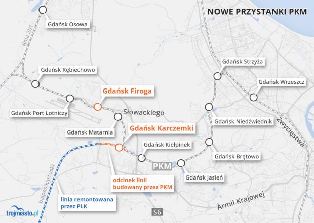 Nowe przystanki na trasie PKM oraz fragment bajpasu kartuskiego, który pozwoli zachować kursowanie pociągów w czasie elektryfikacji linii 201.