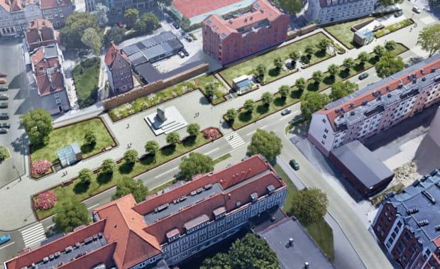 Planowane zagospodarowanie terenu przy Podwalu Staromiejskim, już po wybudowaniu podziemnego parkingu kubaturowego.