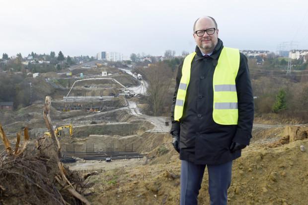 Paweł Adamowicz na budowie Nowej Bulońskiej