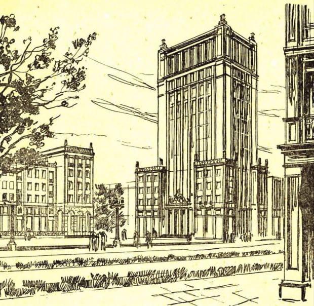 Rysunek socrealistycznego wieżowca, który miał powstać w miejscu późniejszego Olimpu.