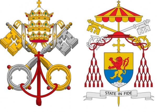 Godło Stolicy Apostolskiej w okresie sprawowania władzy przez papieża (po lewej), oraz w okresie przed wyborem papieża (po prawej). W godle widoczne złoto-czerwone umbraculum.