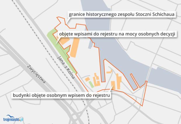 Wpisy do rejestru zabytków na terenie Stoczni Schichaua. Styczeń 2020 r.